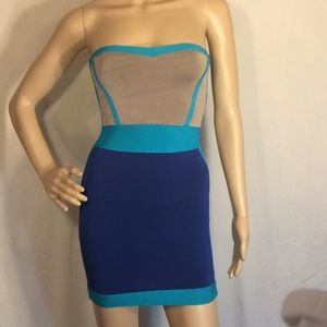 Preowned Bebe Blue & Gray Tube Dress, Size XS